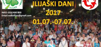 """PROGRAM MANIFESTACIJE KULTURE, SPORTA I TRGOVINE """"ILIJAŠKI DANI"""" 2017"""