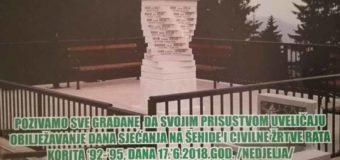 """Program obilježavanja Dana sjećanja na šehide i civilne žrtve rata """"Korita '92-'95"""""""