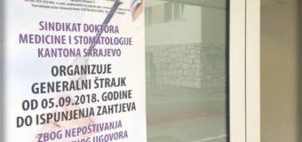Ljekari u Kantonu Sarajevo nastavili sa štrajkom